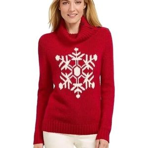 Talbots Snowflake Sweater Button Up Turtleneck